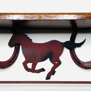"""handmade Wall Art - Vintage METAL HORSESHOE Shelf Horse Handmade 18"""""""